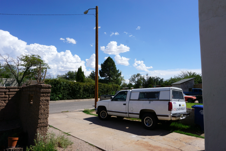 Popcorn clouds of New Mexico – Looking out front door of Studio 725 Albuquerque August 7, 2o18 – photo by MW