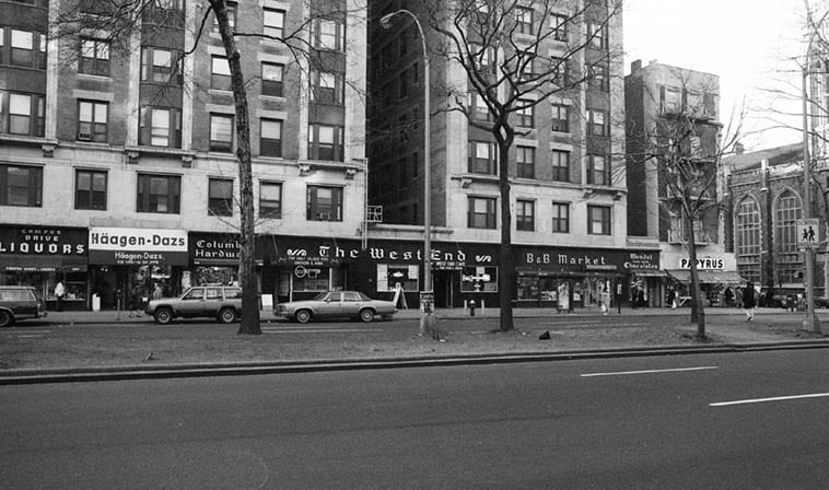 If you know your Beatnik history, then the West End Café looms large as a Kerouac hangout when he was in & out of Columbia, but what fond memories I have of that Haagen-Dazs sitting inside late at night with Janet & her sisters luxuriance ambrosial clouds of ice cream symposium -- 113th & Broadway – March 1987 – photo by Mark Weber