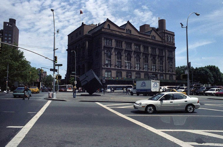 Cooper Union, and there's the Astor Place Cube you see so much on TV ---- July 1, 1997 – photo by Mark Weber