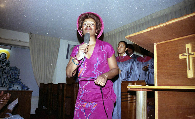Sunday morning at Landmark Community Church, Johnny Otis, pastor ----- October 14, 1979 (most likely date) – photo by Mark Weber