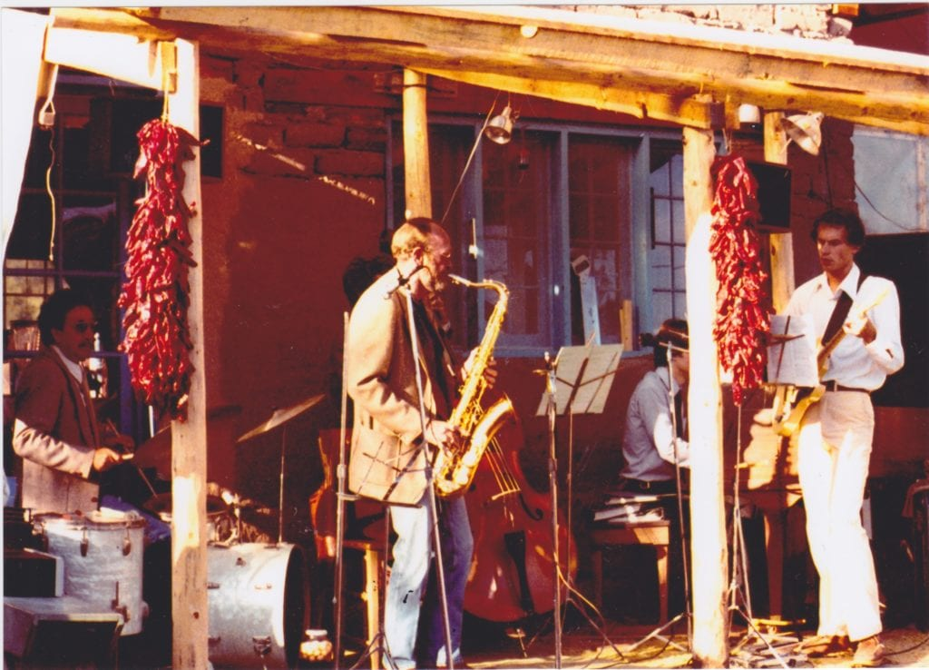 Joe Mondragon on drum kit ------ circa 1981 – El Rito, New Mexico ---- with Mack Thomas, saxophone; Billy Bob, on bass, hidden behind Mack; Stan Grochowski, guitar; and most possibly Bob Benetta, on piano --------------- photo courtesy of Susan Bucklin, THANK YOU Susan this one rocks!