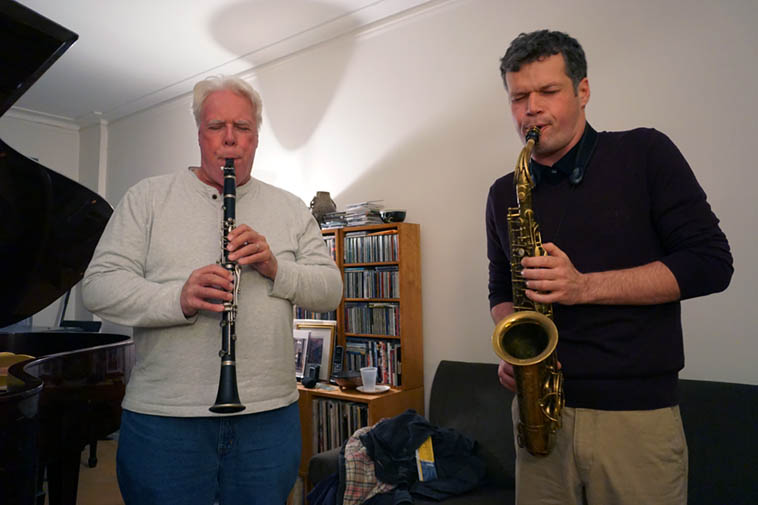 Bill Payne and Nick Lyons at house jam session at Carol Liebowitz's studio on 103rd Manhattan – November 17, 2o18 – photo by Mark Weber ----- almost the entire afternoon of 4+ hours of music was spontaneously improvised (except for Virg playing Out of Nowhere at one point, and Nick asking Bill if he'd like to have a go at What Is This Thing in trio with Carol on piano)