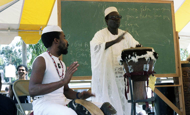 Babatundi Olatunji at Watts Towers Day of the Drum Festival – September 23, 1984 – photo by Mark Weber