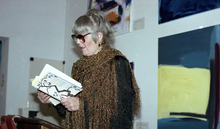 "Joanne Kyger, the American poet who never jumped outside the immediate moment, visiting us in New Mexico at Salt of the Earth Books, Albuquerque – January 11, 1992 ------ ""I am not going to be intimidated/by myself/Outflanked by, upstaged by/this former self of yesterday/which left a pretentious array/of books to read, sources to pull/the western mind into shape"" p.63 of her collection AGAIN (La Alameda Press, 2001) and this gem from page 43: ""When people say they love me I tell them/Give me a loaf of bread ---- I loaf you"" ---- photo by Mark Weber"