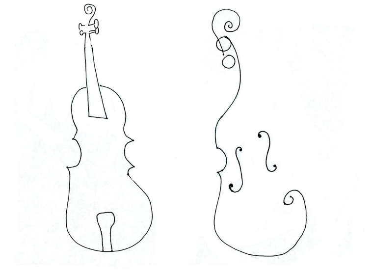 Two Violins for Eva Lindal ------------------- line drawing my Mark Weber