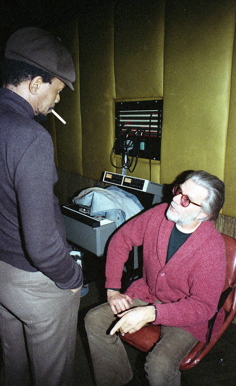 Horace Tapscott and his ardent supporter/documenter/producer Tom Albach, caught in a recording studio somewhere. Tom took it upon himself at some point in the 1970s to document anything and everything Horace was doing/wanted to do, which resulted in dozens of recordings that would never have happened otherwise, from records of Horace's Arkestra to many solo piano sides, trios with Roberto Miranda and drummers Donald Dean and Fritz Wise, all through the 1980s... Tom was quite an irascible fellow; a cigar-chomping loudmouth who was über-passionate/opinionated and a really sweet man down deep. I never knew him well, but I am certainly grateful for his dedication to Horace and his music. I hear Tom is still around at an advanced age battling various serious physical challenges. Sending healing vibes to you, Tom!... -----------photo by Mark Weber ---- January 27, 1981 @ United-Western Studios, Sunset Blvd