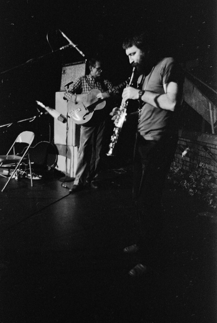 I wasn't at this concert -- Derek Bailey and Evan Parker at the Century City Playhouse -- and for the life of me I can't remember why, but I must have had some sort of family dinner or something or been out of town (the latter is unlikely, however). No way I had a conflicting gig back then! But Derek borrowed my Music Man amp. I sure wished I had heard this! Weirdly, Derek played solo years later at Miles Playhouse in Santa Monica and again I loaned him my amp and AGAIN I couldn't attend the concert! What the-?! NO clue as to why I missed that one, either! It wasn't until around 2005 that I was able to hear Derek play 'live', and that was in Barcelona where he and his wife had moved to get Derek out of the dank cold of the UK. Derek was so lovely to finally chat with and I thanked him for his intrepid and exhaustive innovations, his bravery and brilliance. He passed away about a year later. Evan played solo at the Century City Playhouse back in those days and I did get to hear that. It was utterly remarkable. ---------------photo by Mark Weber ---------- October 15, 1980