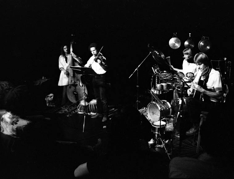 "Quartet Music at the Century City Playhouse? This may have been our first gig. Eric Von Essen, Jeff Gauthier, Alex, me... We soldiered on for about 11 years until there was just not enough interest and when Eric became increasingly immersed in jazz lexicon and stopped composing for awhile. He became a first call jazz bassist as a result and I went back into ""rock"" - a natural and tensionless drift apart. Jeff went on to create Cryptogramophone Records and is still one of my best friends - one of the kindest and most generous friends a lad could ever have in life. --------------photo by Mark Weber @ Century City Playhouse ---- June 29, 1980"