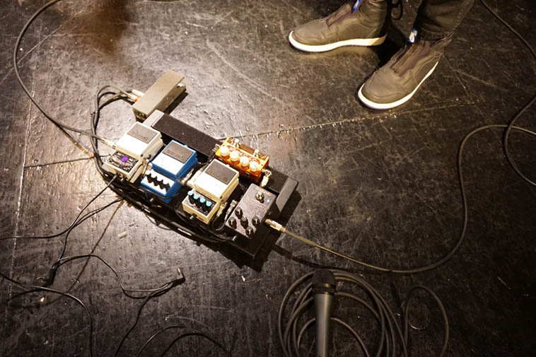 "Nels Cline & his foot pedals (rather, his ""pedal extremities"" as Fats Waller would have it) – February 8, 2o19 Outpost Performance Space ---- photo by Mark Weber"