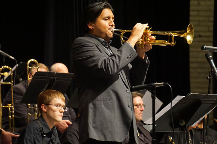 Check this guy out! Michael Rodriguez was new to me, but I won't forget him now, wow, what a great lyrical & thinking man's horn player ---- Here he is in front of the Albuquerque Jazz Orchestra February 16, 2o19 ---- He's a New Yorker and Miami-raised jazz artist of supreme sensibilities ---- photo by Mark Weber