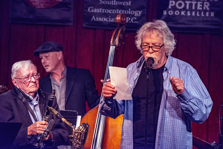 Mark Weber opening poem for the party w/ Arlen(clarinet), and Andy Zadrozny(bass) ---- May 9, 2o19 ---- photo by Roch Doran
