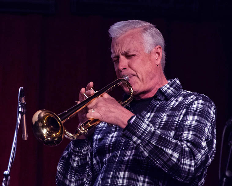 "Kent Erickson leading the charge on ""I Found a New Baby"" ---- May 9, 2o19 Outpost Performance Space --- photo by Roch Doran ---- Arlen told the audience that he wanted to start with a Dixieland number as that's where he started in this life of jazz, playing the little joints around northern Missouri when he was 13 and 14"