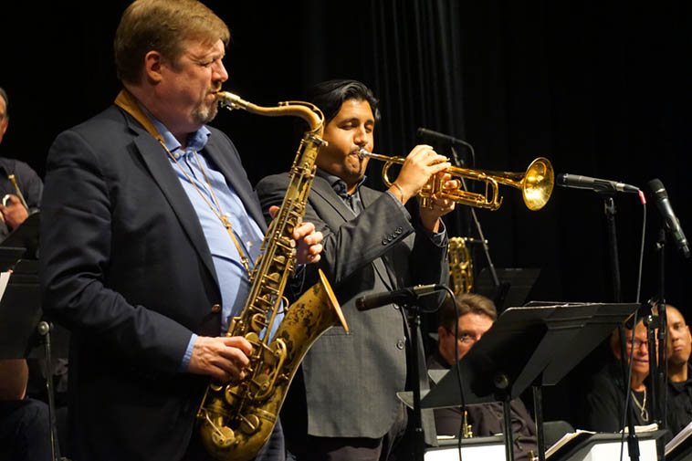 """These two are the real deal: Joel Frahm(tenor) and Michael Rodriguez(trumpet) guesting in front of Albuquerque Jazz Orchestra (that's music director Glenn Kostur eyeballing them from the sax section) ---- February 16, 2o19 ---- photo by Mark Weber ---- Was Bird the first to incorporate quotes from pop songs into his solos? Mr Frahm was a geyser of quotes this evening, from all over the map, the entire kitchen sink went into the mix, even classical referents ---- Hear Bird quoting """"Buttons & Bows"""" in his """"Scrapple from the Apple"""" solo May 1949 Paris, that song was on the radio back home in the USA ---- Sonny Rollins quotes extensively, so does Dexter, and Bobby Bradford, and this guy Joel Frahm, it's a virtuostic thing ---- Mr Rodriguez is just purely great --- These two are happening"""