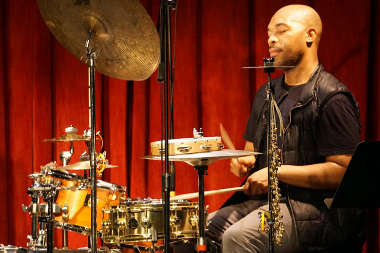Eric Harland w/ Chris Potter's Circuits Trio ---- March 14, 2o19 ---- photo by Mark Weber ---- This was a plugged-in outfit with a lot of electronics flying around ---- For my money, I found I liked listening to Mr Harland centrally and let everything else work as embellishment to what he was magnificently doing