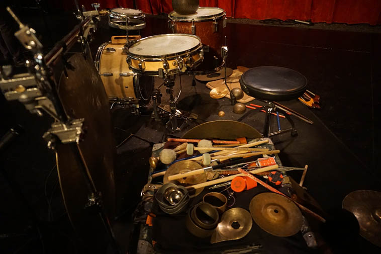 Tatsuya Nakatani's drumkit ---- April 21, 2o19 ---- photo by Mark Weber at Outpost Performance Space, Albuquerque