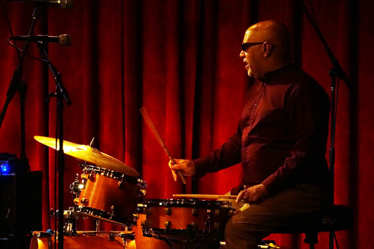 Leon Parker visiting New Mexico as part of Aaron Goldberg Trio ---- I wonder if not using a hi-hat is a regular thing with him? He certainly makes do without ---- photo by Mark Weber ---- May 2, 2o19