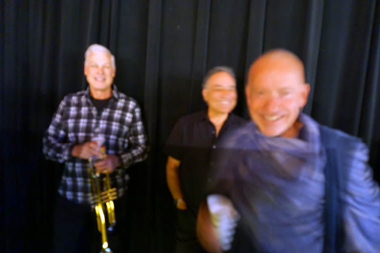 Still learning this new camera: A trumpeter & two drummers: Kent Erickson, John Trentacosta, Jefferson Voorhees stage left ---- May 9, 2o19 ---- photo by Mark Weber
