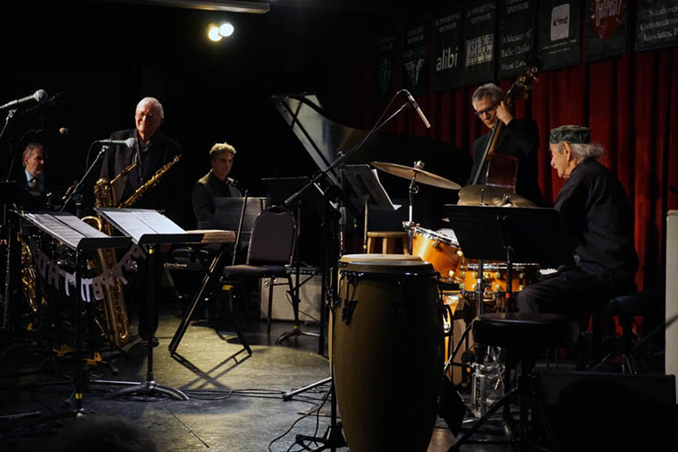 Set 2: Chris Ishee(elec-piano), John Rangel(Steinway), Micky Patten(bass), Pete Amahl(drums) ---- May 9, 2o19 – photo by Mark Weber