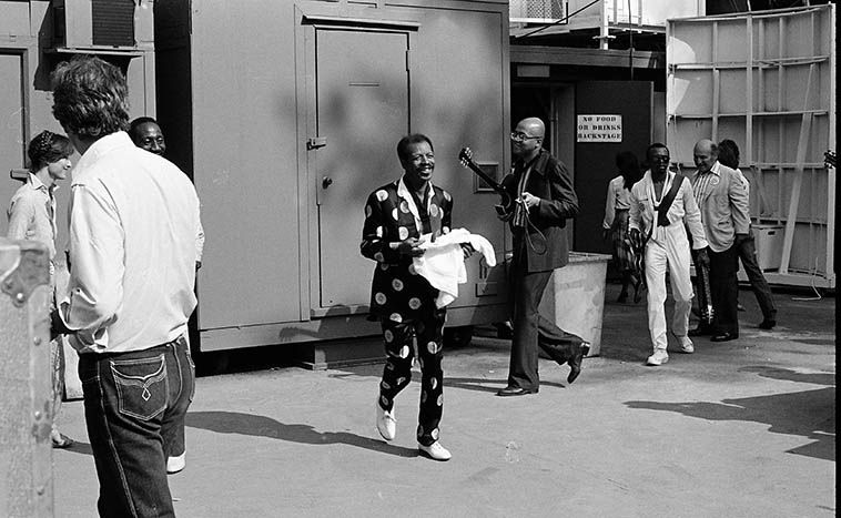 Ornette and his band coming off stage at Hollywood Bowl Playboy Jazz Festival ---- June 19, 1982 ---- photo by Mark Weber ---- two drummers two electric bass two guitarists and Ornette out front playing the blues ----- He really made me a believer that day, with his electric thing