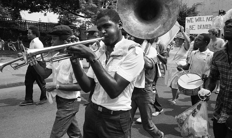 Marching for women's rights: The Charles Barbarin Memorial Brass Band – July 3, 1982 New Orleans – photo by Mark Weber