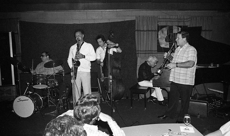The Jack Sheldon Quintet in Cucamonga on old Rt.66 at Gilberto's ---- April 12, 1981 w/ Plas Johnson(tenor), Dick Berk(drums), Jim DeJulio(bass), Lou Levy(piano) and Jack (trumpet, vocals, and humor) ---- photo by Mark Weber
