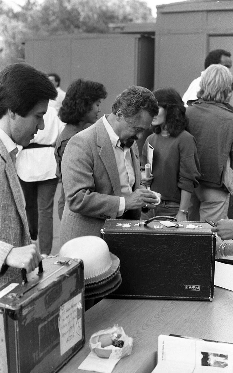 Shorty Rogers checks in ---- June 16, 1984 at Playboy Jazz Festival, Hollywood Bowl – photo by Mark Weber