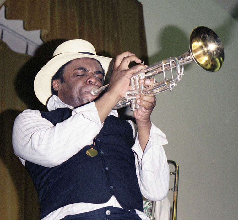 Freddie Hubbard plays for Blue Mitchell at Blue's Memorial at Local 47 ---- June 10, 1979 Los Angeles – photo by Mark Weber