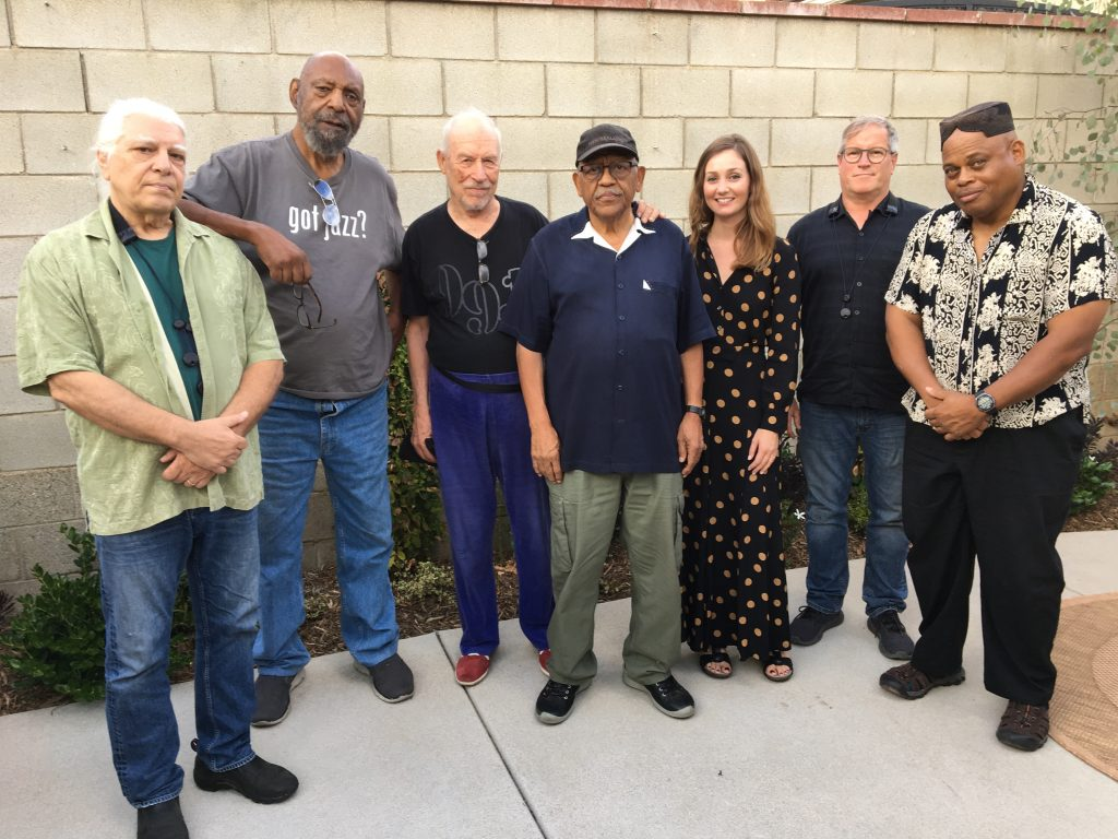 "The Bobby Bradford Ensemble after rehearsal for Bobby's ""Stealin' Home"" extended work in honor of baseball legend Jackie Robinson ---- Sunday, September 15, 2o19 Altadena ---- photo by Terry Cannon ---- See the Bobby Bradford TimeLine for details"