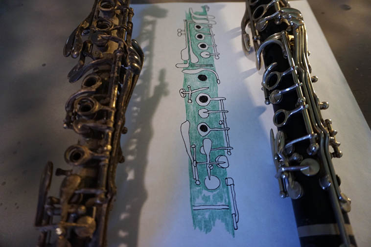 Line drawing with clarinets by MW ---- August 17, 2o19