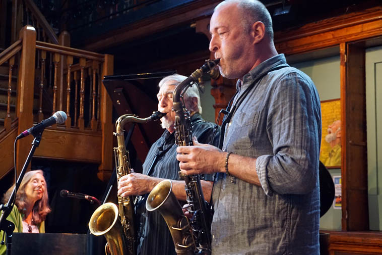The Charley Krachy – Kazzrie Jaxen Quintet at Howland Cultural Center, Beacon, New York ---- Gary Levy (alto) and Charley (tenor) and Kazzrie (piano) ---- September 29, 2o19 ---- photo by Mark Weber ----- Beacon is on the Hudson River north of the city about an hour