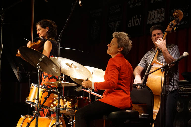 The Jenny Scheinman – Allison Miller Quartet who call themselves Parlour Game ---- What a knockout show at the Outpost Performance Space, Albuquerque, October 6, 2o19 ---- Allison(drums), Jenny(violin), Carmen Staff(piano), Tony Scherr(bass) ---- photo by Mark Weber, a total fan of this group, wow