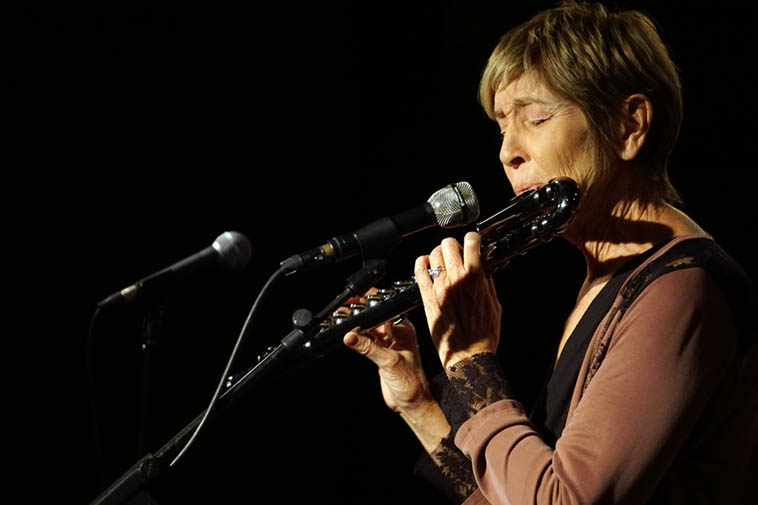 """Ali Ryerson plays so much flute it's scary, what a total jazzwoman, she's all about lyric balance and trapeze ---- at Outpost Performance Space ---- October 10, 2o19 ---- (we have the same birthday, she calls me her """"younger twin"""" and I call her Kokopelli Ali) ---- photo by Mark Weber"""