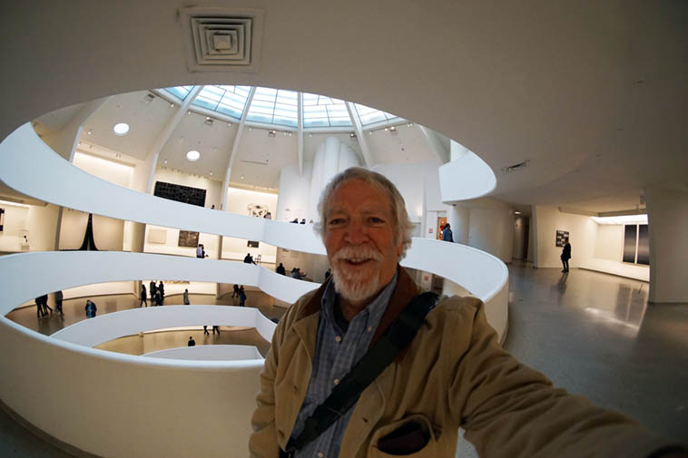Self-portrait inside the Guggenheim with wide-angle lens at age 66 – October 23, 2o19 NYC