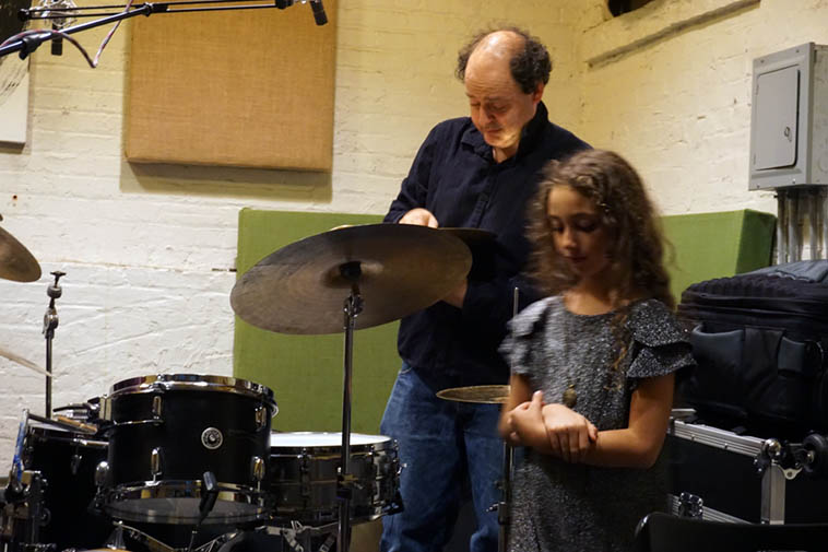 Drummer & daughter ---- October 24, 2o19 at I-Beam ---- Igal and Liana Foni ---- Igal performed with the Burton Greene Trio on a double bill with Carol Liebowitz – Adam Lane Duo ---- photo by Mark Weber