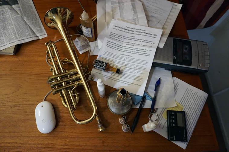 Portrait of Bobby Bradford ---- November 17, 2o19 – (BB's desk in his studio) ---- photo by MW