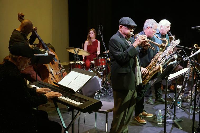 The Bobby Bradford Ensemble (septet) ---- November 17, 2o19 ---- Don Preston(keyboard), Henry Franklin(bass), BB(cornet), Tina Raymond(drumset), Chuck Manning(tenor), Vinny Golia(baritone & alto saxophones, bass-clarinet), William Roper(assorted tubas) ---- photo by Mark Weber