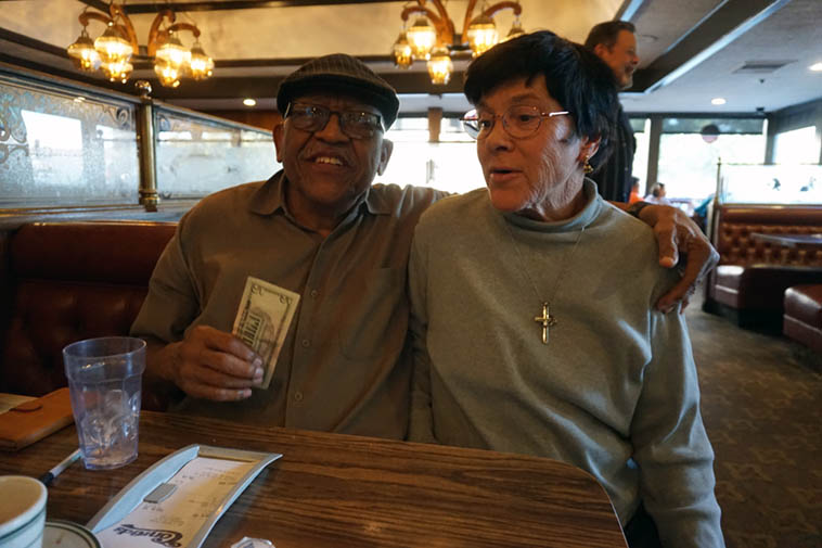 You can't go anywhere in Pasadena with Bobby Bradford without running into someone he knows ---- We were at our favorite diner Conrads when this former student stopped by our table ---- trumpeter Liz Butz ---- November 18, 2o19 – photo by Mark Weber