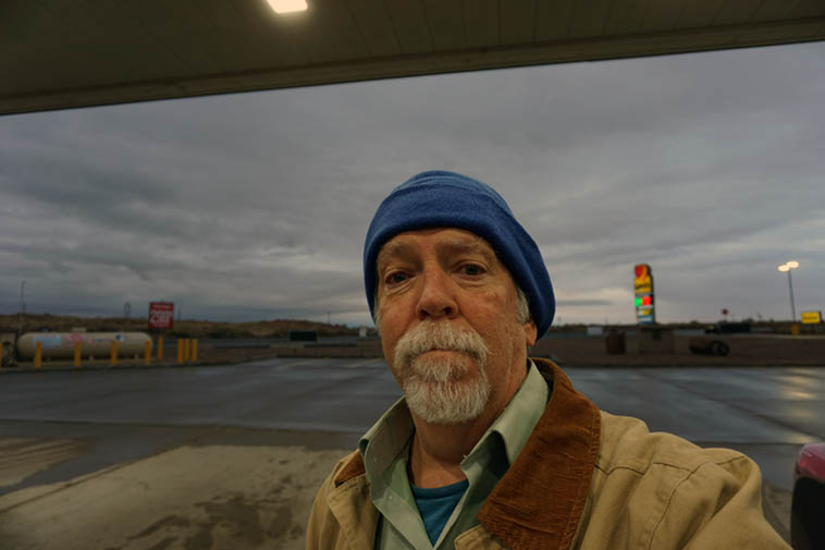 As I wrote at my FaceBook page: Early morning gassing up in Joseph City, Arizona ------ Traveling is a little bit of a trial, there's no getting around the action stress has on yr body & psyche ------ self-portrait November 20, 2o19