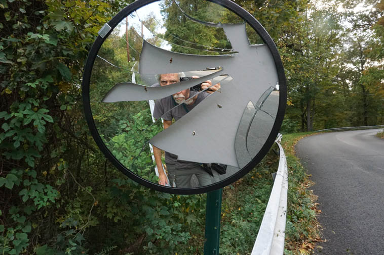 Self-portrait in broken mirror ---- a mile down the road from where Charley & Peggy Krachy live in Garrison NY when I was staying with them that week last September (2o19)