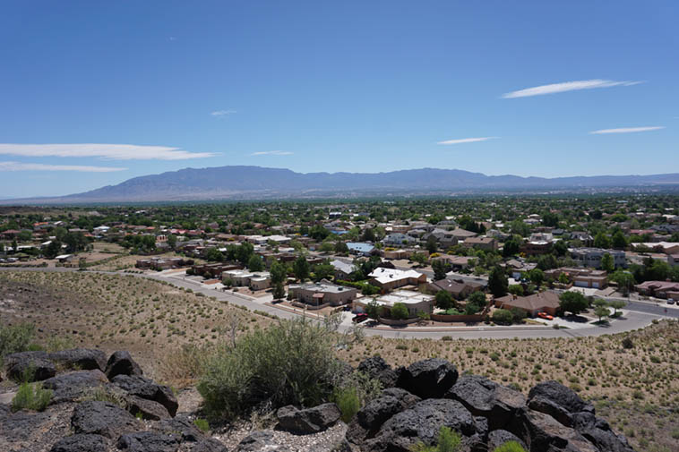The Sandia Mountains and Albuquerque from the West Mesa – May 27, 2o19 photo by MW