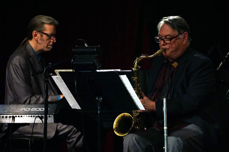 Jim Ahrend and Alex Murzyn as part of the Bobby Shew Sextet ---- December 12, 2o19 Outpost Performance Space ----- So glad that Patti Patten filmed this concert, it was off the map ----- photo by Mark Weber