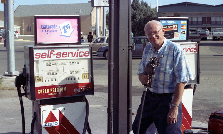 "En route to the Poetry Rendezvous in Great Bend, Kansas ---- the name of the gas station was You Pump It ---- I said to Todd, ""Check out the name of this place"" and he observed ruefully, ""Yeh, you pump it and we'll sell it"" ---- I still laugh every time I think of that one, Todd was a master of one-liners ---- photo by MW Dalhart, Texas, August 6, 1994"