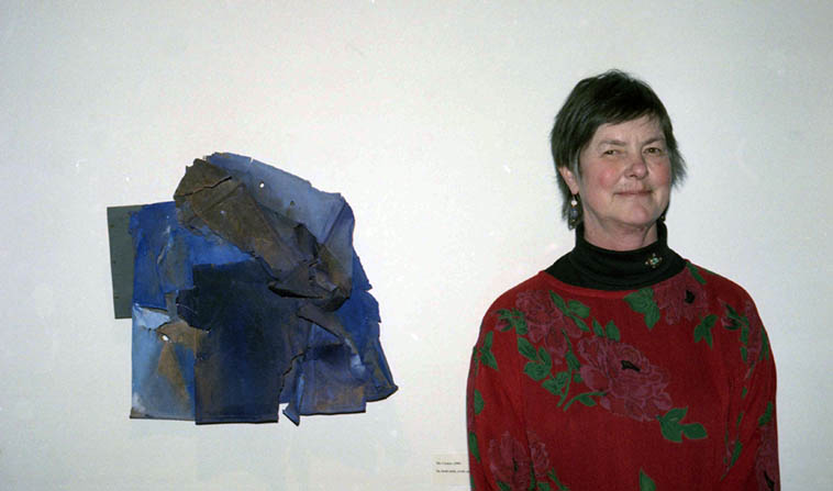 Is that the look of a outlander, or what? Lee Deffebach (1928-2005) and one of her combine assemblages ---- photo by Mark Weber February 24, 1991 ---- Life-long Utah artist, I've loved her approach to canvas ever since I came across that postcard announcing this show in Salt Lake City when I worked at the post office (she laughed when I told her that story)