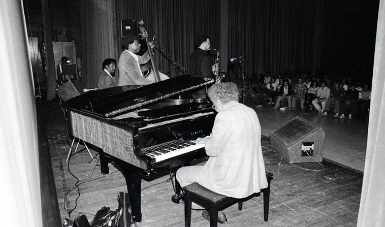 Not sure who was the leader of this quartet, but that's Plas Johnson(tenor), Jimmie Smith(drums), Larry Gales(bass), and Dolo Coker(piano), at UCLA Ackerman Grand Ballroom --- May 14, 1980 ---- photo by Mark Weber