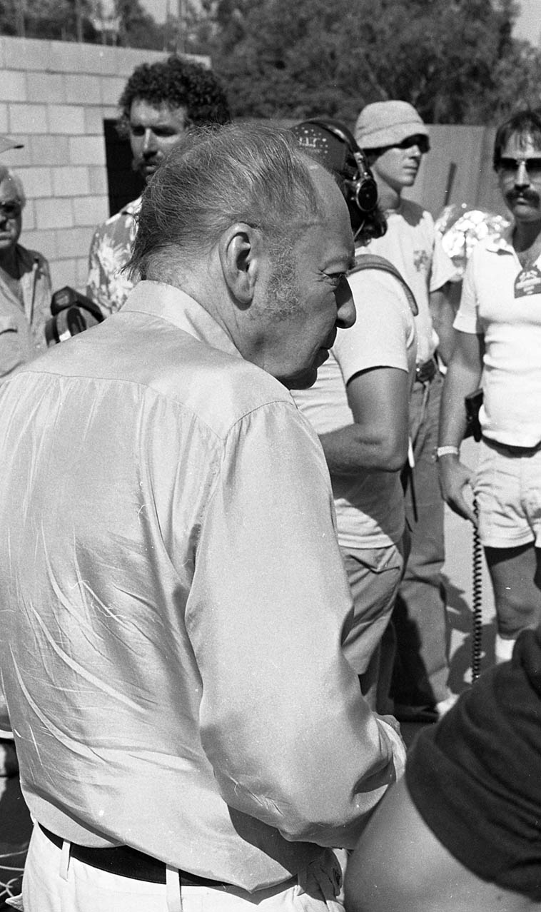 """Woody Herman backstage at Hollywood Bowl, one of the giants of jazz music, June 20, 1981 ---- Remember that the germ of Supersax was Woody's Second Herd recording of """"I've Got News For You"""" (Dec. 24, 1947) arranger Ralph Burns, """"I took a passage note for note off a Charlie Parker record and harmonized it for the saxophones."""" Just 8 bars of Bird's """"Dark Shadows."""" Med Flory in Gene Lees' book LEADER OF THE BAND/Woody Herman biography says that it was that short passage that anticipated the concept of Supersax thirty years later. We'll listen to something from this band on today's radio show. Photo by Mark Weber"""