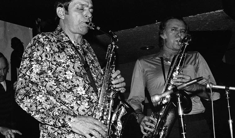 "You can't talk about John Breckow and not talk about his love of Warne Marsh in the 70s, we bonded over Warne Marsh and checked him out around town as much as possible ---------- That's Monty Budwig(bass) and Art Pepper and Warne at Donte's January 26, 1977 photo by Mark Weber ------------- John used to call Art ""Lightening in a bottle"""