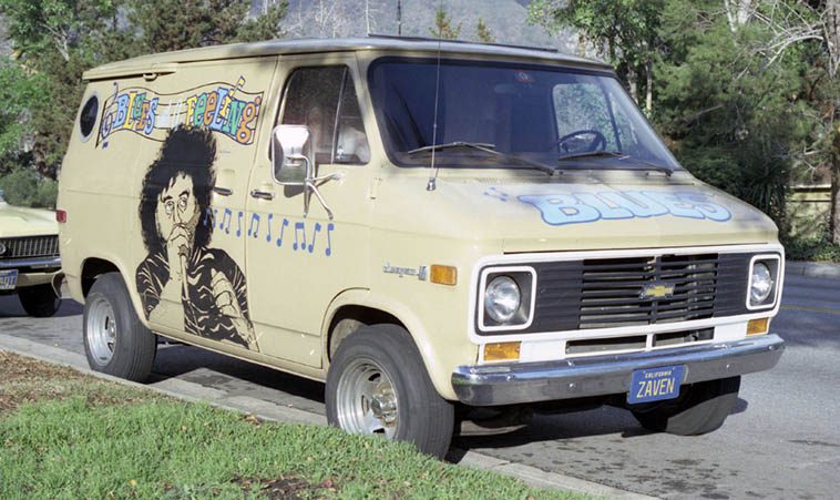 John would get a laugh out of this ---- Zaven Jambazian's van parked out front of the duplex he shared with John (they had separate units) on Sierra Madre Blvd, Pasadena ------------- Zaven was an Armenian, of whom many reside in L.A. area, and a blues harmonica player ---- photo by Mark Weber January 1978