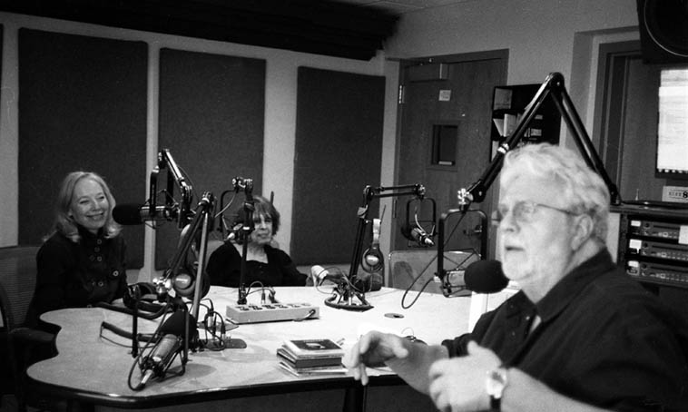 John doing the monster crawl mugging for the camera on his Friday afternoon radio show at KUNMwith guests Kazzrie Jaxen and Virg Dzurinko ---- a great informative interview discussing Lennie Tristano and their own music, too --- May 6, 2o16 Albuquerque ---- photo by Mark Weber