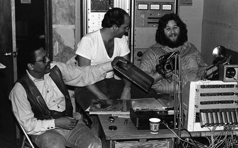 Bobby Bradford being interviewed by Paul Vangelisti and John Breckow ---- KPFK January 14, 1977 ---- photo by Mark Weber