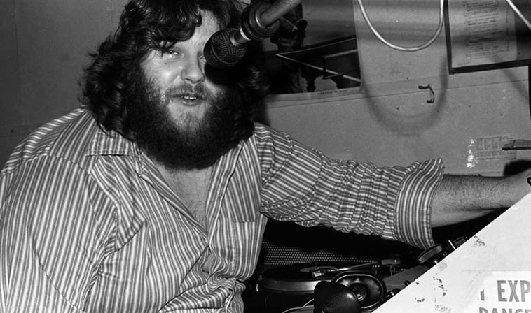 John Breckow at the KPFK controls January 14, 1977 ---- photo by Mark Weber